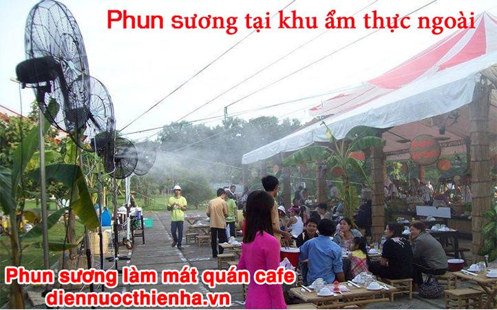 Hình ảnh thực tế phun sương quán ăn ngoài trời